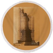 New York Lady Liberty Statue Of Liberty Caged Freedom Round Beach Towel by Michael Hoard