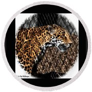 Caged Jaguar Round Beach Towel