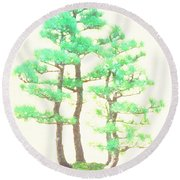 Caitlin Elm Bonsai Tree Round Beach Towel by Marian Cates