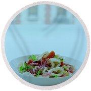 Calamari Salad Round Beach Towel