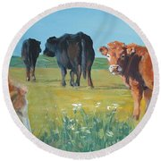 Calf Painting Round Beach Towel