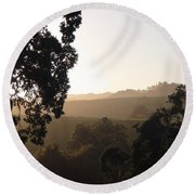 Round Beach Towel featuring the photograph Cali Sun Set by Shawn Marlow