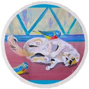 Round Beach Towel featuring the painting Calico And Friends by Phyllis Kaltenbach
