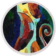Calico Cat Abstract In Moonlight Round Beach Towel