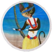Calico Hula Queen Round Beach Towel