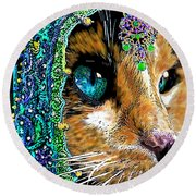 Calico Indian Bride Cats In Hats Round Beach Towel by Michele Avanti