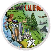California Cartoon Map Round Beach Towel