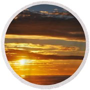 Round Beach Towel featuring the photograph California Central Coast Sunset by Kyle Hanson