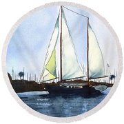 Round Beach Towel featuring the painting California Dreamin by Kip DeVore