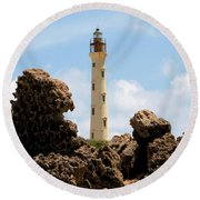California Lighthouse Aruba Round Beach Towel
