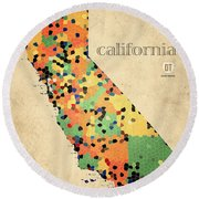 California Map Crystalized Counties On Worn Canvas By Design Turnpike Round Beach Towel
