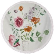 California Poppies And Roses In A Vase Round Beach Towel by Asha Carolyn Young