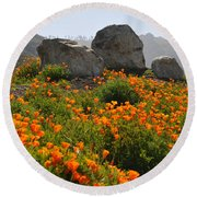 Round Beach Towel featuring the photograph California Poppies by Lynn Bauer