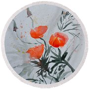 California Poppies Sumi-e Round Beach Towel by Beverley Harper Tinsley