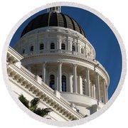 California State Capitol Dome Round Beach Towel