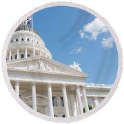 California State Capitol In Sacramento Round Beach Towel