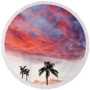 California Sunset Round Beach Towel