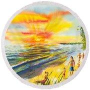 California Sunset Round Beach Towel