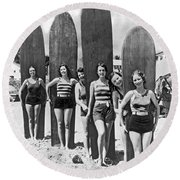 California Surfer Girls Round Beach Towel
