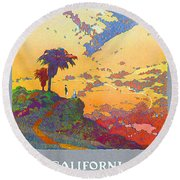 California Vintage Travel Poster Round Beach Towel