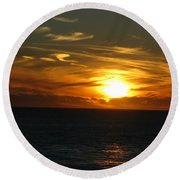 California Winter Sunset Round Beach Towel