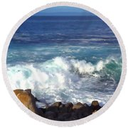 California's Rugged Shore Round Beach Towel by Art Block Collections