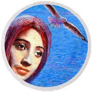 Round Beach Towel featuring the painting Call Of The Deep by Jane Small