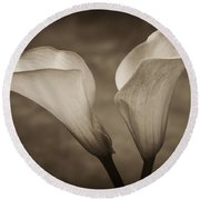 Round Beach Towel featuring the photograph Calla Lilies In Sepia by Sebastian Musial