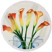 Round Beach Towel featuring the painting Calla Lilies by Kathy Braud