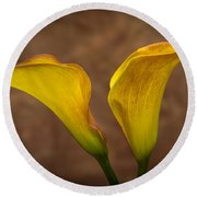 Round Beach Towel featuring the photograph Calla Lilies by Sebastian Musial