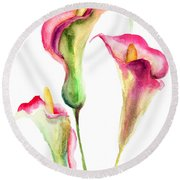 Calla Lily Flowers Round Beach Towel