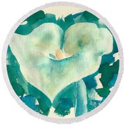 Calla Lily Watercolor Round Beach Towel
