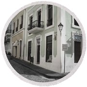 Round Beach Towel featuring the photograph Calle De Luna Y Calle Del Cristo by Daniel Sheldon