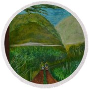 Round Beach Towel featuring the painting Called To The Mission Field by Cassie Sears