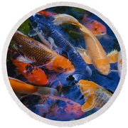 Round Beach Towel featuring the photograph Calm Koi Fish by Jerry Cowart