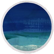 Calm Waters- Abstract Landscape Painting Round Beach Towel by Linda Woods