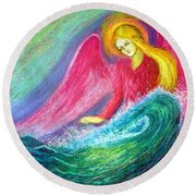 Calming Angel Round Beach Towel