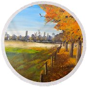 Round Beach Towel featuring the painting Camden Farm by Pamela  Meredith