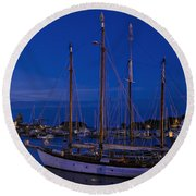Camden Harbor Maine At 4am Round Beach Towel