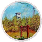 Camel Top Fire Tower Round Beach Towel