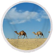 Camel Train Round Beach Towel by Anonymous