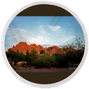 Camelback Mountain And Moon Round Beach Towel by Connie Fox