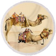 Camels From Petra Round Beach Towel by Alison Cooper