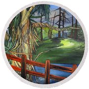 Camino Real Park Round Beach Towel by Mary Ellen Frazee