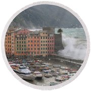 Round Beach Towel featuring the photograph Camogli Under A Storm by Antonio Scarpi