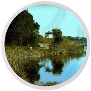Camp Helen Round Beach Towel by Debra Forand