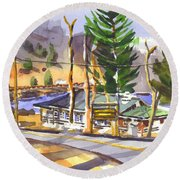 Round Beach Towel featuring the painting Camp Penuel At Lake Killarney by Kip DeVore