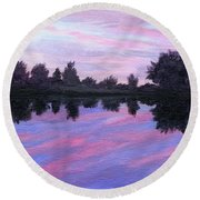 Round Beach Towel featuring the painting Camp Sunset by Lynne Reichhart