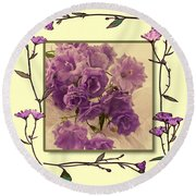 Campanula Framed With Pressed Petals Round Beach Towel by Sandra Foster