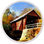 Campbell's Covered Bridge Round Beach Towel by Lynne Jenkins